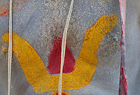 Painted Chest of a Sadhu at the Shambhu Nath Hindu Cremation Area, Kathmandu Nepal