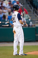 Tennessee center fielder Tyler Colvin (21) waits for his turn at bat versus Carolina at Smokies Park in Sevierville, TN, Friday, July 27, 2007.