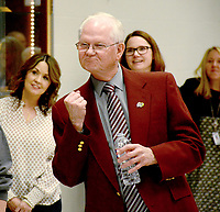 """Janelle Jessen/Herald-Leader<br /> Superintendent Ken Ramey pumped his fist as the high school choir sang a personalized rendition of """"Oh Happy Day""""— a phrase he is well known for using — during his retirement party on Friday. Ramey announced in January that he plans to retire at the end of the school year in June after a 52-year career in education. His party was attended by many current and former staff members, and included a slideshow and photo booth."""