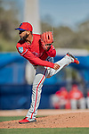 6 March 2019: Philadelphia Phillies pitcher Seranthony Dominguez on the mound during a Spring Training game against the Toronto Blue Jays at Dunedin Stadium in Dunedin, Florida. The Blue Jays defeated the Phillies 9-7 in Grapefruit League play. Mandatory Credit: Ed Wolfstein Photo *** RAW (NEF) Image File Available ***