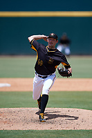 Bradenton Marauders relief pitcher Scooter Hightower (49) delivers a pitch during a game against the Charlotte Stone Crabs on June 3, 2018 at LECOM Park in Bradenton, Florida.  Charlotte defeated Bradenton 10-1.  (Mike Janes/Four Seam Images)