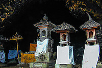 Bali, Klungkung, Goa Lawah. The bat cave. A Shiva temple with shrines guards the entrance.