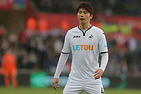 Ki Sung-Yueng of Swansea City in action during the Premier League game between Swansea City v Chelsea at the Liberty Stadium, Swansea, Wales, UK. Saturday 28 April 2018