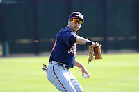 Outfielder Kyeong Kang (97) of the Atlanta Braves farm system warms up before a Minor League Spring Training intrasquad game on Wednesday, March 18, 2015, at the ESPN Wide World of Sports Complex in Lake Buena Vista, Florida. (Tom Priddy/Four Seam Images)
