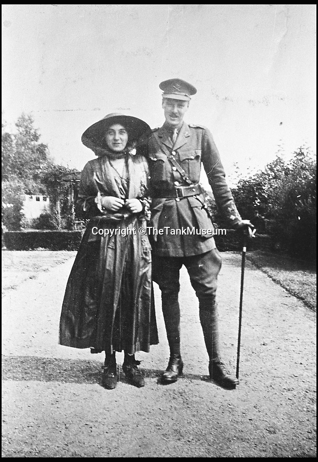BNPS.co.uk (01202 558833)<br /> Pic: TheTankMuseum/BNPS<br /> <br /> Lt. Basil Henriques and his wife Rose.<br /> <br /> A poignant ring made from a shard of glass that struck a First World War tank commander when his periscope took a direct hit has been unearthed 100 years later.<br /> <br /> Lieutenant Sir Basil Henriques was peering into the viewpoint during the first outing of the Mk I tank on the battlefield when artillery fire struck a glass prism that shattered, sending splinters into his face.<br /> <br /> Medics later removed the pieces and the officer kept the largest part and had it mounted in a gold ring which he then gave to his new bride, Rose. The item has been unearthed in the archives of the Tank Museum in Dorset.