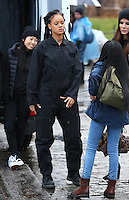 www.acepixs.com<br /> <br /> January 24 2017, New York City<br /> <br /> (L-R) Awkwafina, Rihanna and Sandra Bullock on the Midtown Manhattan set of the new movie 'Ocean's Eight' on January 24 2017 in New York City<br /> <br /> By Line: Zelig Shaul/ACE Pictures<br /> <br /> <br /> ACE Pictures Inc<br /> Tel: 6467670430<br /> Email: info@acepixs.com<br /> www.acepixs.com