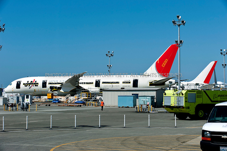 8/6/2011--Everett, WA, USA..Parked and undelivered Boeing 787 Dreamliners at the company's facilities in Everett, WASH. north of Seattle...©2011 Stuart Isett. All rights reserved.
