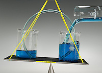 EQUILIBRIUM RESTORED BY USE OF SIPHON<br /> (Variations Available)<br /> Fluid is added to the beaker on the right<br /> When liquid is added to one beaker, the additional liquid is siphoned through the tube and the levels are restored. The flow is determined by the difference in hydrostatic pressure. Liquid rises over the crest of the siphon due to gravitational pull.