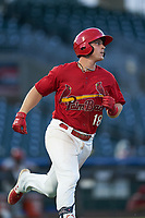 Palm Beach Cardinals Nolan Gorman (18) runs to first after hitting a double during a Florida State League game against the Clearwater Threshers on August 10, 2019 at Roger Dean Chevrolet Stadium in Jupiter, Florida.  Clearwater defeated Palm Beach 11-4.  (Mike Janes/Four Seam Images)