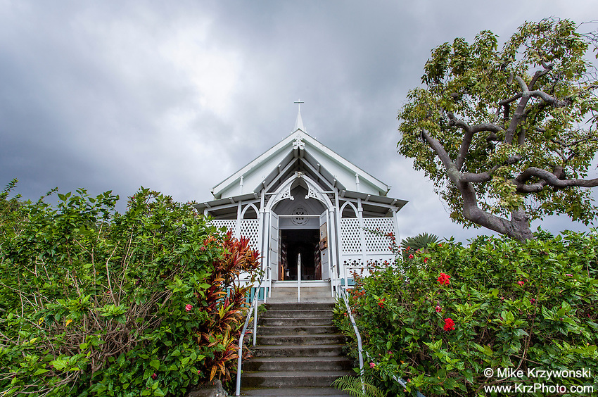 "Outside view of St. Benedict Roman Catholic Church aka ""The Painted Church"", Captain Cook, Big Island, Hawaii"
