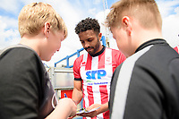 Lincoln City's Bruno Andrade signs autographs for fans<br /> <br /> Photographer Chris Vaughan/CameraSport<br /> <br /> Football Pre-Season Friendly (Community Festival of Lincolnshire) - Lincoln City v Lincoln United - Saturday 6th July 2019 - The Martin & Co Arena - Gainsborough<br /> <br /> World Copyright © 2018 CameraSport. All rights reserved. 43 Linden Ave. Countesthorpe. Leicester. England. LE8 5PG - Tel: +44 (0) 116 277 4147 - admin@camerasport.com - www.camerasport.com