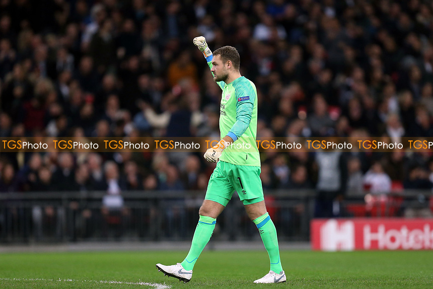 Jeroen Zoet of PSV Eindhoven /celebrates the opening goal during Tottenham Hotspur vs PSV Eindhoven, UEFA Champions League Football at Wembley Stadium on 6th November 2018