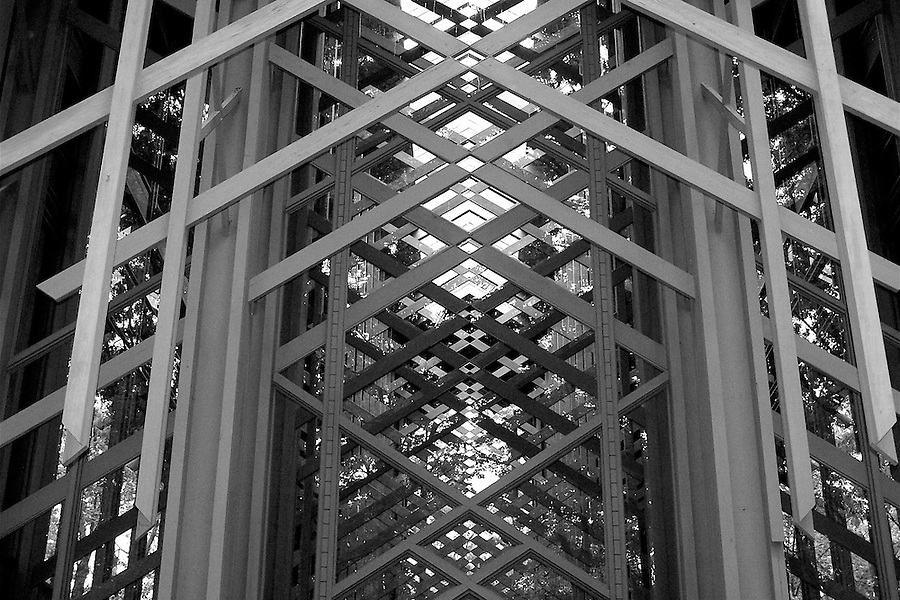 Geometric detail of Thorncrown Chapel's structure, Eureka Springs, Arkansas, USA.