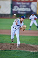 Reza Aleaziz (43) of the Ogden Raptors delivers a pitch during a game against the Grand Junction Rockies at Lindquist Field on September 7, 2018 in Ogden, Utah. The Rockies defeated the Raptors 8-5. (Stephen Smith/Four Seam Images)