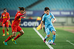 Jiangsu FC Midfielder Xie Pengfei (R) in action during the AFC Champions League 2017 Group H match between Jiangsu FC (CHN) vs Adelaide United (AUS) at the Nanjing Olympics Sports Center on 01 March 2017 in Nanjing, China. Photo by Marcio Rodrigo Machado / Power Sport Images