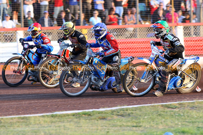 Heat 9: Adam Shields (red), Lubos Tomicek (blue), Simon Stead (green) and Stanislaw Burza make the gate - Lakeside Hammers vs Coventry Bees - Elite League Speedway at Arena Essex, Purfleet - 30/06/08 - MANDATORY CREDIT: Gavin Ellis/TGSPHOTO - Self billing applies where appropriate - Tel: 0845 094 6026.