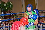 DJ 'Mad Dog' O'Connor makes first contact in this the final fight of the night against James 'Hand Grenade' Mike O'Sullivan at the St Michaels/Foilmore White Collar Fight Night at The Ring of Kerry Hotel on Saturday night last, it was a terrific contest which ended as a draw ...