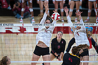 STANFORD, CA - November 15, 2017: Audriana Fitzmorris, Meghan McClure, Morgan Hentz at Maples Pavilion. The Stanford Cardinal defeated USC 3-0 to claim the Pac-12 conference title.