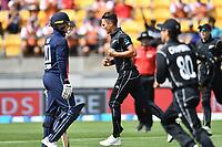 Blackcaps bowler Trent Boult celebrates the wicket of England's Jason Roy during the Third ODI game between Black Caps v England, Westpac Stadium, Wellington, Saturday 03rd March 2018. Copyright Photo: Raghavan Venugopal / © www.Photosport.nz 2018