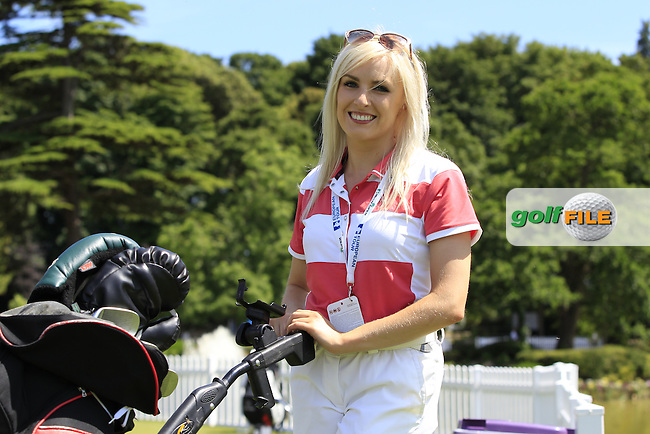Sarah Hennessy caddying for dad President of Club Tom Hennessy during Wednesday's Pro-Am of the 2014 Irish Open held at Fota Island Resort, Cork, Ireland. 18th June 2014.<br /> Picture: Eoin Clarke www.golffile.ie