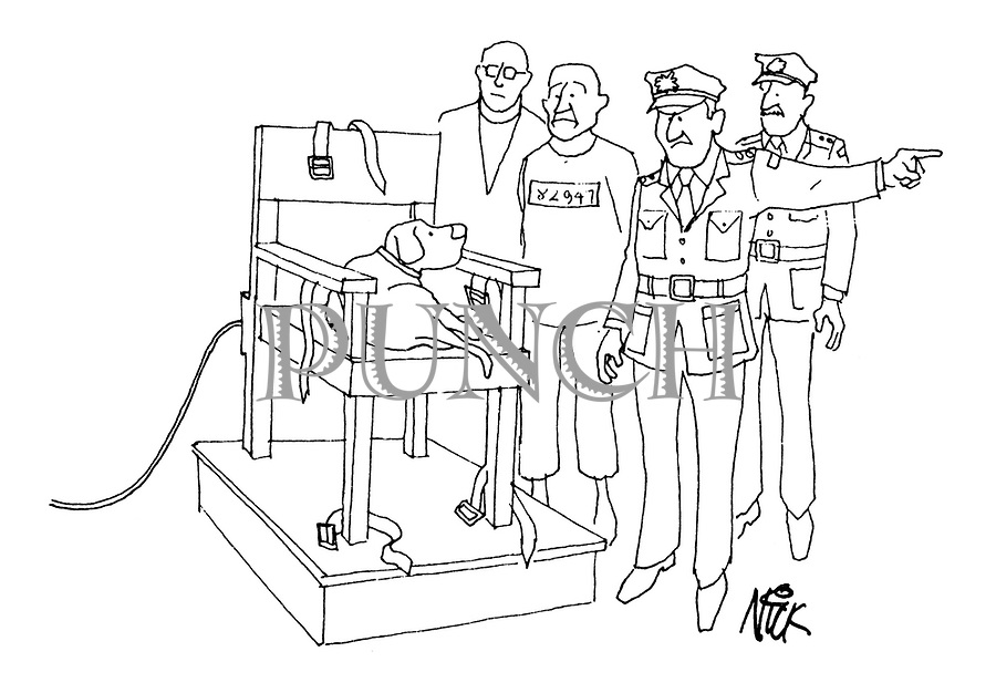 (A prison guards tells a dog to get off an electric chair so that a prisoner can be seated on it)
