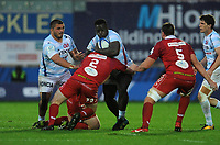Racing 92 Cedate Gomes Sa is tackled by Scarlets' Ken Owens<br /> <br /> Photographer Ian Cook/CameraSport<br /> <br /> European Rugby Champions Cup - Scarlets v Racing 92 - Saturday 13th October 2018 - Parc y Scarlets - Llanelli<br /> <br /> World Copyright © 2018 CameraSport. All rights reserved. 43 Linden Ave. Countesthorpe. Leicester. England. LE8 5PG - Tel: +44 (0) 116 277 4147 - admin@camerasport.com - www.camerasport.com