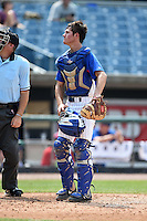 Cameron Comer (30) of Olentangy Liberty High School in Powell, Ohio playing for the Chicago Cubs scout team during the East Coast Pro Showcase on August 1, 2014 at NBT Bank Stadium in Syracuse, New York.  (Mike Janes/Four Seam Images)