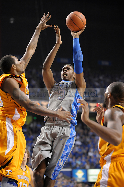 UK's Terrence Jones shoots over a Tennessee defender during the first half of the University of Kentucky men's basketball game against Tennessee at Rupp Arena in Lexington, Ky., on 1/31/12. UK led the game at halftime. Photo by Mike Weaver | Staff