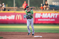 Eugene Emeralds shortstop Luis Vazquez (7) throws to first base during a Northwest League game against the Salem-Keizer Volcanoes at Volcanoes Stadium on August 31, 2018 in Keizer, Oregon. The Eugene Emeralds defeated the Salem-Keizer Volcanoes by a score of 7-3. (Zachary Lucy/Four Seam Images)