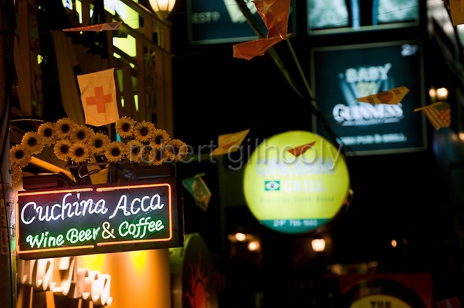 International Restaurant Street features a variety of chic cafes, restaurants and bars that are becoming the norm in the once seedy area of Itaewon in the Yongsan district of Seoul, South Korea on 25 June 2010..Photographer: Rob Gilhooly