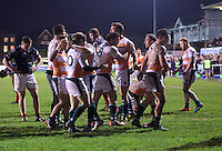 Ealing Trailfinders players celebrate their win after the Greene King IPA Championship match between London Scottish Football Club and Ealing Trailfinders at Richmond Athletic Ground, Richmond, United Kingdom on 26 December 2015. Photo by Alan  Stanford / PRiME Media Images