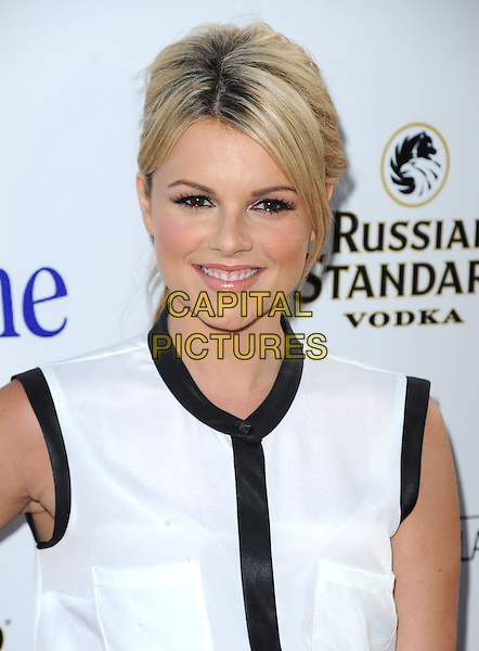 Alexandra &quot;Ali&quot; Elaine Fedotowsky<br /> 'Blue Jasmine'  L.A. premiere at The Academy of Motion Pictures Arts and Sciences in Beverly Hills, California, USA.<br /> 24th July 2013 <br /> headshot portrait black white sleeveless <br /> CAP/DVS<br /> &copy;DVS/Capital Pictures