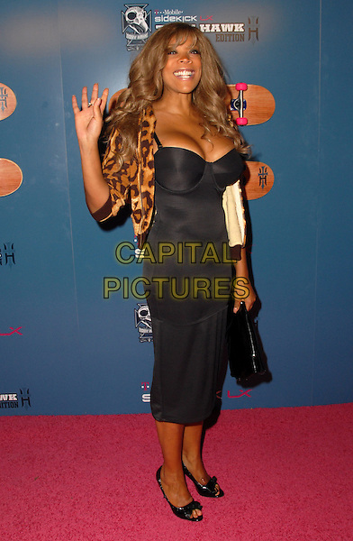 WENDY WILLIAMS .At the Launch Party for the T-Mobile Sidekick LX Tony Hawk Edition held at a private location, Hollywood, California, USA, 01 August 2008..full length black dress hand waving leopard print jacket  .CAP/ADM/FS.©Faye Sadou/Admedia/Capital Pictures