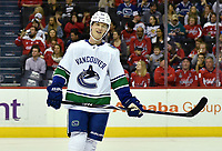 WASHINGTON, DC - FEBRUARY 05: Vancouver Canucks center Elias Pettersson (40) smiles during a stoppage in play during the Vancouver Canucks vs. the Washington Capitals NHL game at Capital One Arena in Washington, D.C.. (Photo by Randy Litzinger/Icon Sportswire)