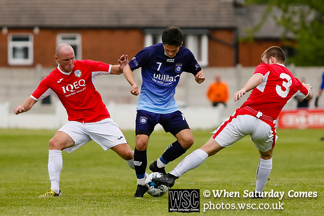 Yorkshire's Jack Normanton is tackled by Jersey's Luke Watson and Jay Giles. Yorkshire v Parishes of Jersey, CONIFA Heritage Cup, Ingfield Stadium, Ossett. Yorkshire's first competitive game. The Yorkshire International Football Association was formed in 2017 and accepted by CONIFA in 2018. Their first competative fixture saw them host Parishes of Jersey in the Heritage Cup at Ingfield stadium in Ossett. Yorkshire won 1-0 with a 93 minute goal in front of 521 people. Photo by Paul Thompson