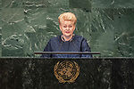 LOS general debate – 27 September<br /> <br /> AM<br /> <br /> Her Excellency Dalia Grybauskaite, President, Republic of Lithuania