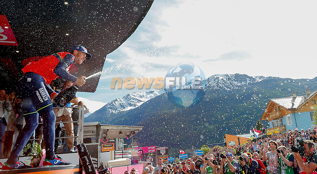 Vincenzo Nibali (ITA) Bahrain-Merida wins Stage 16 of the 100th edition of the Giro d'Italia 2017, running 222km from Rovetta to Bormio, Italy. 23rd May 2017.<br /> Picture: LaPresse/Simone Spada | Cyclefile<br /> <br /> <br /> All photos usage must carry mandatory copyright credit (&copy; Cyclefile | LaPresse/Simone Spada)