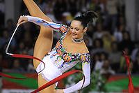 November 9, 2008; Durango, Spain (near Bilbao); Rhythmic gymnast Anna Bessonova of Ukraine performs ribbon gala at 2008 Euskalgym International.  Anna won bronze at Beijing 2008 Olympics..
