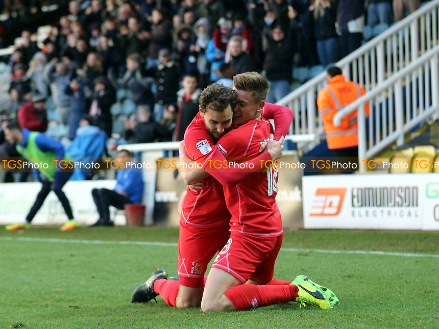 Harvey Barnes celebrates scoring MK Dons opening goal with Ed Upson during Peterborough United vs MK Dons, Sky Bet EFL League 1 Football at London Road on 28th January 2017