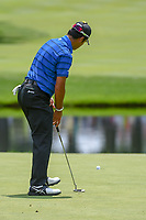 Hideki Matsuyama (JPN) sinks his putt on 3 during 2nd round of the World Golf Championships - Bridgestone Invitational, at the Firestone Country Club, Akron, Ohio. 8/3/2018.<br /> Picture: Golffile | Ken Murray<br /> <br /> <br /> All photo usage must carry mandatory copyright credit (© Golffile | Ken Murray)