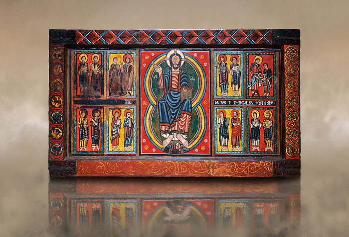 Painted wooden panel of the Altar of d'Ix showing Christ Patocrator flanked by the 12 apostles. From the Church of Sanit Matin d'Ix, La Guinguetta d'Ix, Alta Cerdanya, Spain.  National Art Museum of Catalonia, Barcelona 1958. Ref: MNAC 15802.