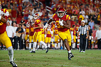 LOS ANGELES, CA - SEPTEMBER 8: USC Trojans running back Markese Stepp #30 runs with the ball during a game between USC and Stanford Football at Los Angeles Memorial Coliseum on September 7, 2019 in Los Angeles, California.