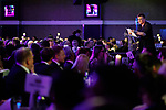 © Joel Goodman - 07973 332324 . 01/03/2018 . Manchester , UK . FRAN ECCLES-BECH introduces the Awards' charity recipient . The Manchester Evening News Legal Awards at the Midland Hotel in Manchester City Centre . Photo credit : Joel Goodman