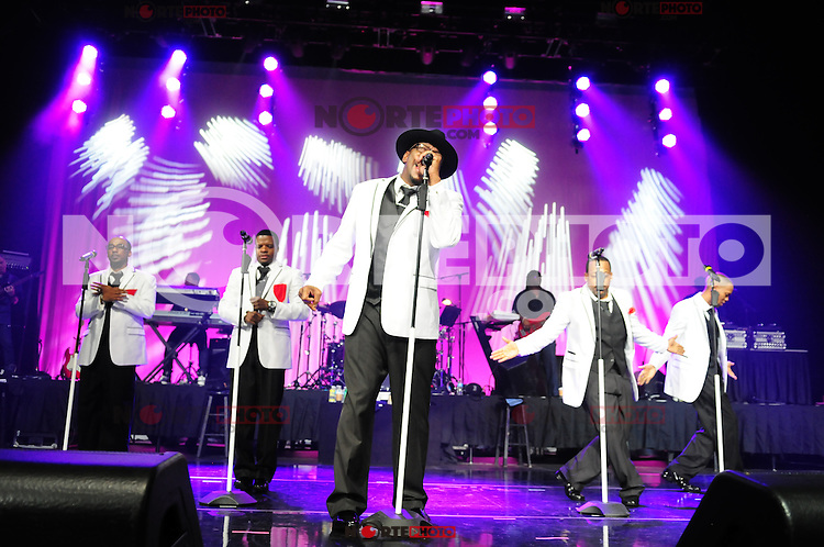 MIAMI, FL - MAY 05: Ralph Tresvant, Ricky Bell, Bobby Brown, Michael Bivins and Ronnie DeVoe,  of New Edition perform at Bank United Center in support of their tour 'Road To the 30th' on May 5, 2012 in Miami, Florida.  (photo by: MPI10/MediaPunch Inc.)