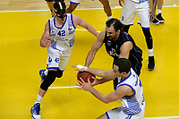 ZWOLLE - Basketbal, Landstede - Donar,  Dutch Basketball League, seizoen 2017-2018, 20-01-2018,  Donar speler Drago Pasalic met Landstede speler Nigel van Oostrum