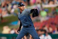 West Michigan Whitecaps starting pitcher Jesus Rodriguez (5) delivers a pitch during a game against the Kane County Cougars on July 19, 2018 at Northwestern Medicine Field in Geneva, Illinois.  Kane County defeated West Michigan 8-5.  (Mike Janes/Four Seam Images)