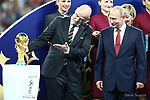 15/07/2018, Luzhniki stadium, Moscow, Russia; FIFA World Cup Russia 2018, Final Football Match France versus Croatia, France is the new World Champion. France won the World Cup for the second time 4-2 against Croatia. Gianni Infantino, FIFA President shows the Trophy at Vladimir Putin, Russian President.