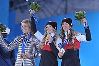 OLYMPICS: SOCHI: Medal Plaza, 09-02-2014, Freestyle Skiing, Ladies' Moguls, Hannah Kearney (USA), Justin Dufour-Lapointe (CAN), Chloe Dufour-Lapointe (CAN), ©photo Martin de Jong