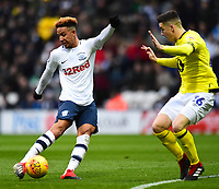 Preston North End's Callum Robinson competes with Blackburn Rovers' Darragh Lenihan<br /> <br /> Photographer Richard Martin-Roberts/CameraSport<br /> <br /> The EFL Sky Bet Championship - Preston North End v Blackburn Rovers - Saturday 24th November 2018 - Deepdale Stadium - Preston<br /> <br /> World Copyright © 2018 CameraSport. All rights reserved. 43 Linden Ave. Countesthorpe. Leicester. England. LE8 5PG - Tel: +44 (0) 116 277 4147 - admin@camerasport.com - www.camerasport.com