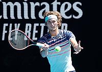 29th January 2020; Melbourne Park, Melbourne, Victoria, Australia; Australian Open Tennis, Day 10; Alexander Zverev of Germany during his match against Stan Wawrinka of Switzerland